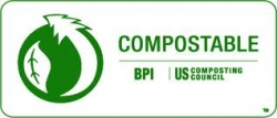 Look for the BPI compostable logo to make sure your product or packaging won't cause plastic pollution in our soils
